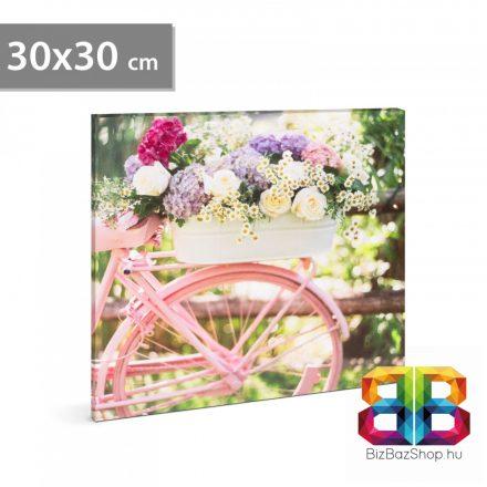 "LED-es fali hangulatkép - ""Bicikli"" - 2 x AA, 30 x 30 cm"