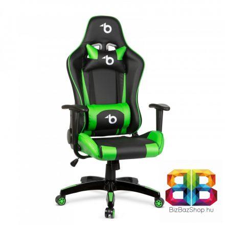 Gamer szék - derékpárnával, fejpárnával - zöld