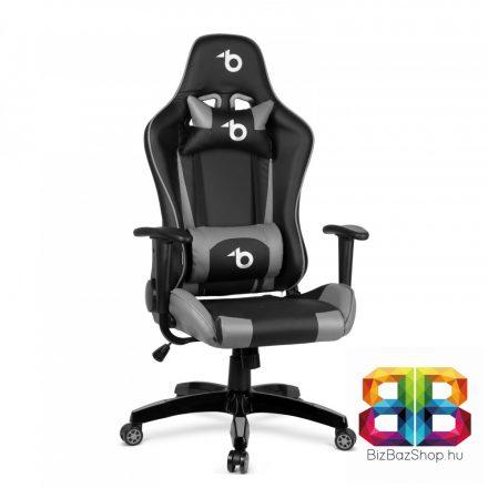Gamer szék - derékpárnával, fejpárnával - szürke