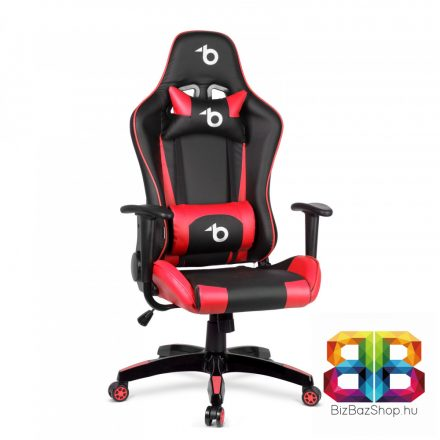 Gamer szék - derékpárnával, fejpárnával - piros